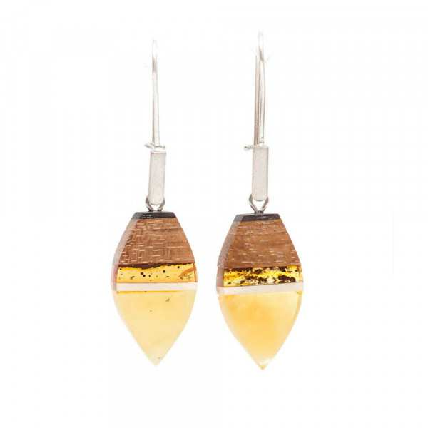 earrings made of amber and wood on silver hooks