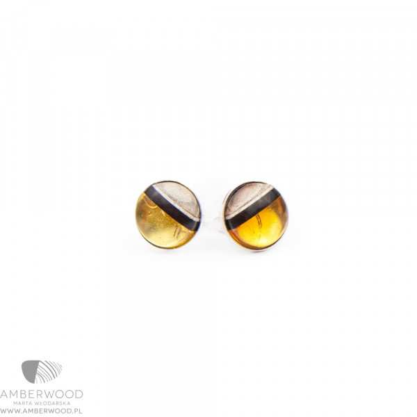 studs made of amber and wood set on silver.