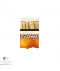 Prosty naszyjnik z bursztynem w naturalnym kształcie