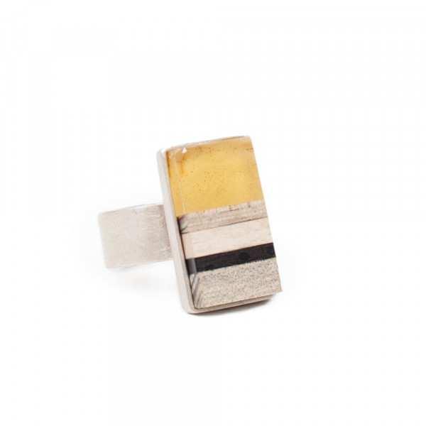Pierścionek Simple Stripes amber