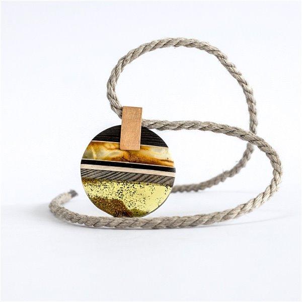 SUNSET Halskette baltischer Bernstein + Holz + Silber vergoldet, Amberwood Marta Wlodarska