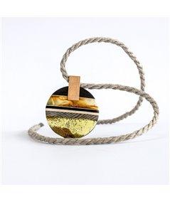 SUNSET necklace baltic Amber + Wood + gold plated Sterling silver by Amberwood Marta Wlodarska