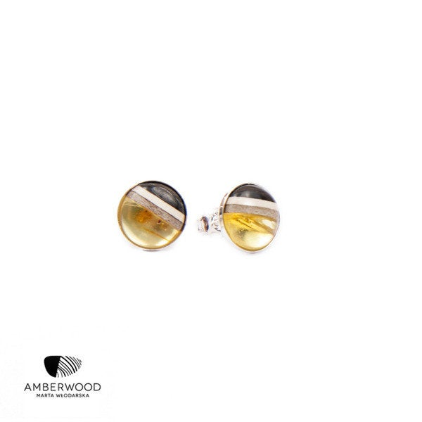 ROUND studs, baltic amber + wood + silver, transparent yellow, pin earrings by Amberwood Marta Wlodarska