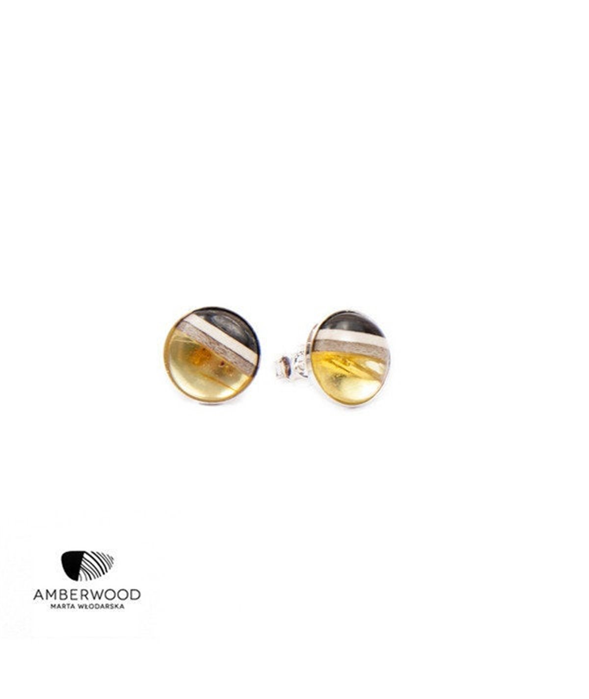 ROUND studs, baltic amber + wood + silver, transparent yellow, pin earrings by Amberwood Marta Wlodarska