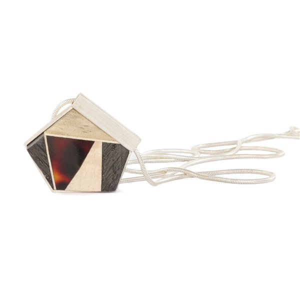 GEOMETRY pendant, darkred amber + wood + silver, Amberwood Marta Wlodarska