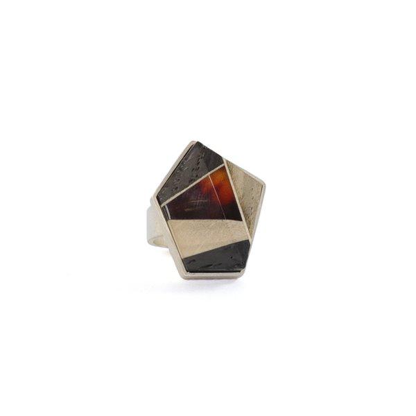 GEOMETRY Ring, baltic amber + wood + Sterling silver, dark orange grey black, by Amberwood Marta Wlodarska