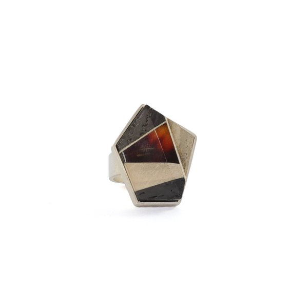 GEOMETRY Ring, baltic amber + wood + Sterling silver, dark orange grey black, by Amberwood Marta Wlodarska