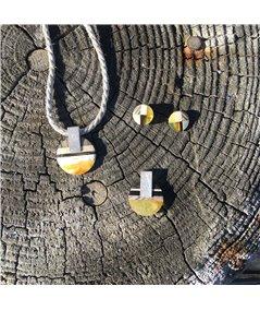 ROUND S Collier, baltischer Bernstein + Holz + Silber 925, orange schwarz, Amberwood Marta Wlodarska