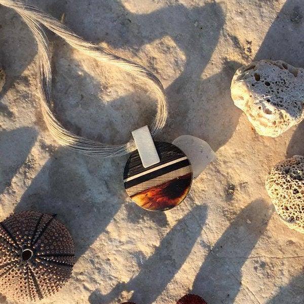 ROUND S Collier, baltic amber + wood + Sterling silver, orange black, Amberwood Marta Wlodarska