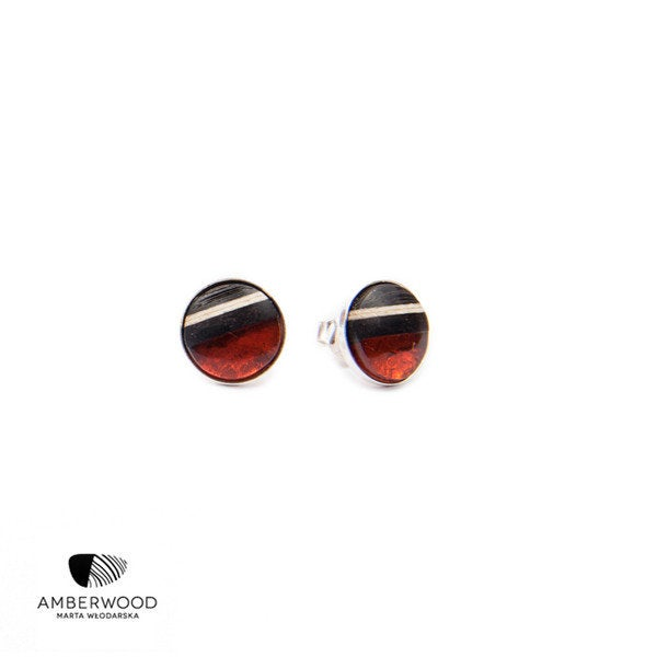 ROUND XS studs pins, baltic amber + wood + Sterling silver, dark red black, by Amberwood Marta Wlodarska