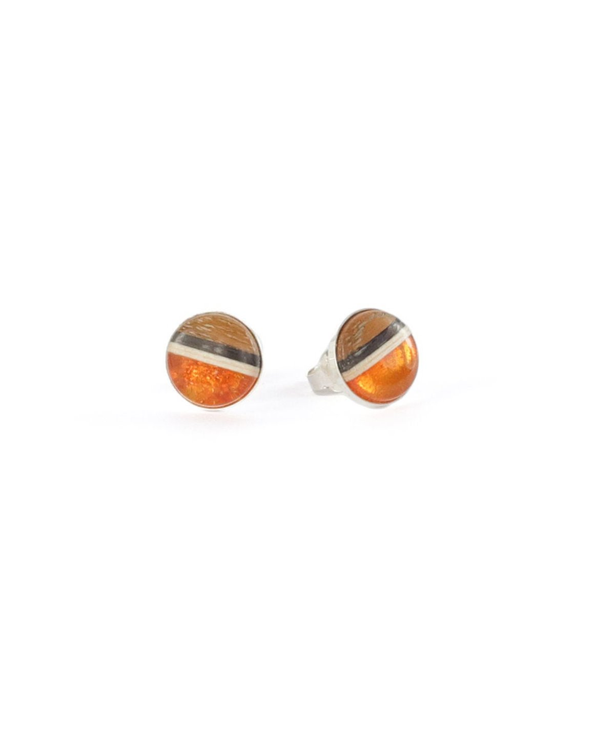 ROUND XS studs pins, baltic amber, + wood + Sterling silver, orange brown, by Amberwood Marta Wlodarska