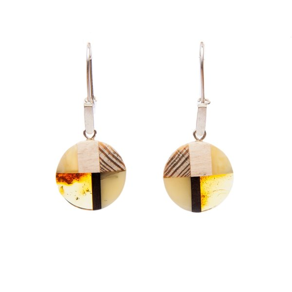 MOSAIC M earrings, baltic amber+ wood + silver, Art-Déco-style, by Amberwood Marta Wlodarska