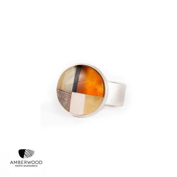MOSAIC S Art-Déco inspired Ring, baltic amber + wood + Sterling silver, orange brown, by Amberwood Marta Wlodarska