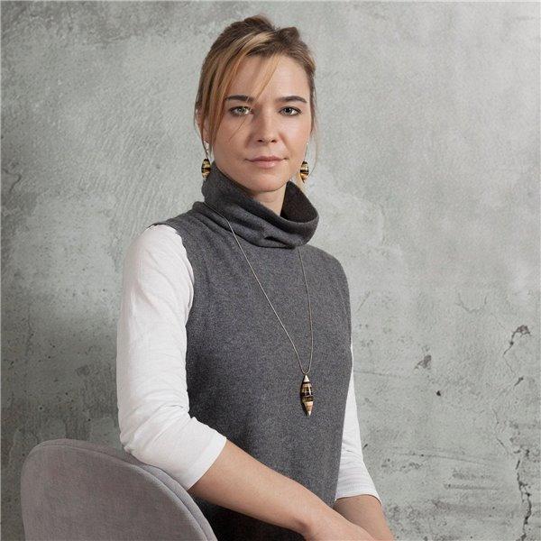 FLOATS Halskette, baltischer Bernstein + Holz + Silber 925, gelb grau,  von Amberwood Marta Wlodarska