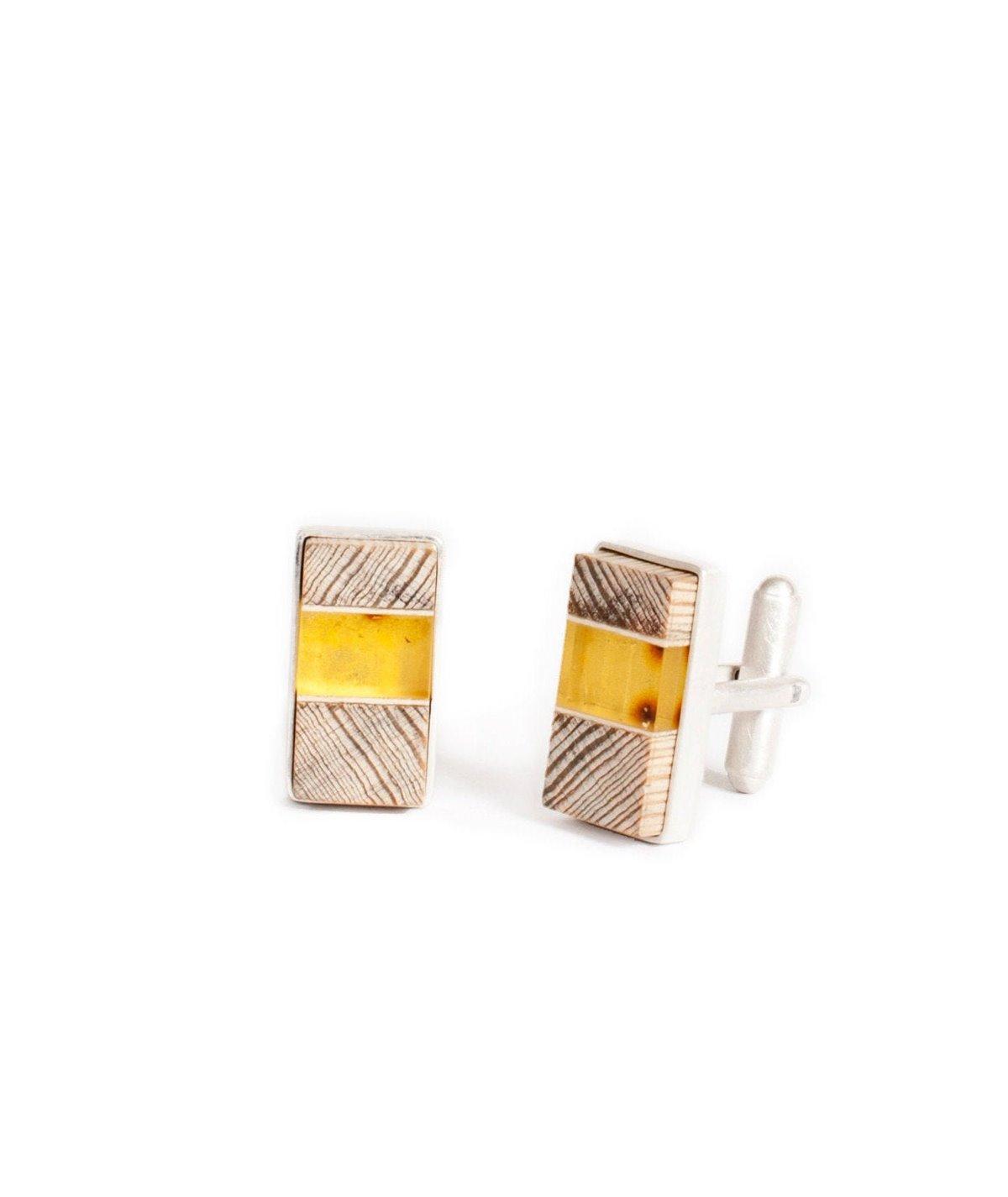 Manschettenknöpfe baltischer Bernstein + Treibholz + Silber, gelb silber, Amberwood Marta Wlodarska