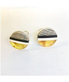 Round Earclips baltic amber + wood + Sterling silver, by Amberwood Marta Wlodarska