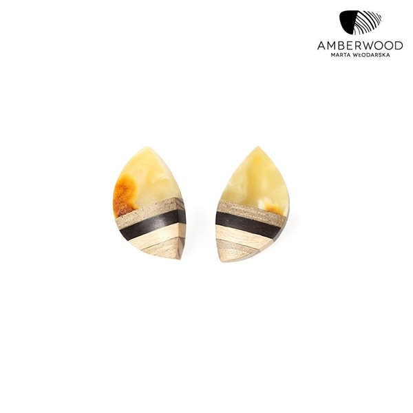 Ohrclips Bernstein + Holz + Silber, Blatt Form gelb grau, Amberwood Marta Wlodarska