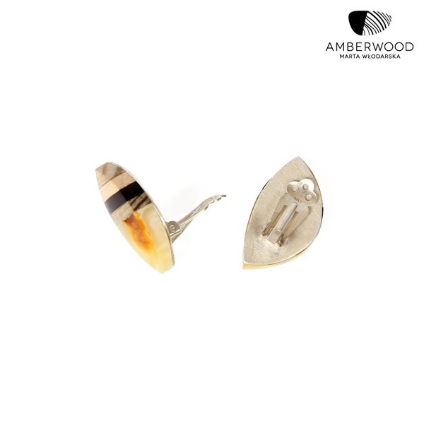 Baltic amber LEAVES Earclips with driftwood, ebony, sterlingsilver by Amberwood Marta Wlodarska