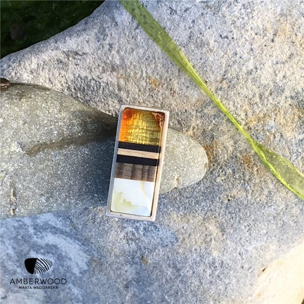 SILVER Ring baltic amber + wood + Sterling silver, handmade by Amberwood Marta Wlodarska -