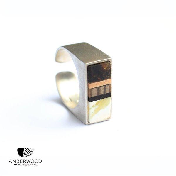 SILVER Ring baltic amber + wood + Sterling silver, handmade, Amberwood Marta Wlodarska