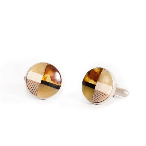 Cufflinks baltic amber + wood + silver, Art-Deco inspired, handmade by Marta Wlodarska Amberwood