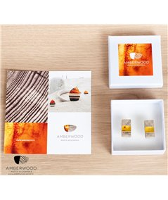 Cufflinks baltic amber + wood + silver, Art-Deco inspired, handmade by Marta Wlodarska Amberwood