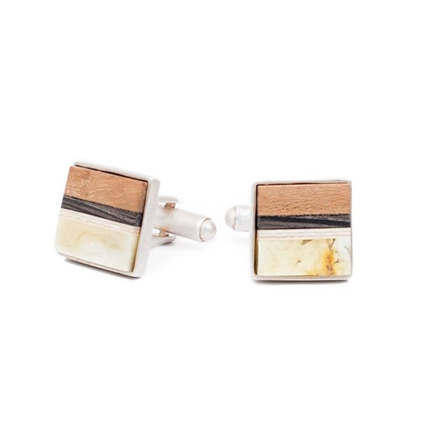 Cufflinks with rare white Baltic Amber, Teak, Ebony and Sterling silver by Amberwood Marta Wlodarska