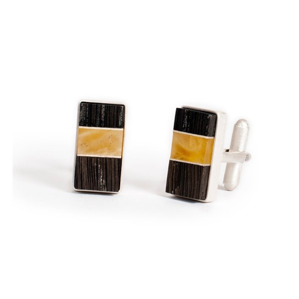 Cufflinks handmade of baltic amber, bog oak wood and sterling silver, by Amberwood Marta Wlodarska,