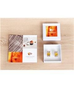 Cufflinks handmade of baltic amber, bog oak wood and sterling silver, by Amberwood Marta Wlodarska,