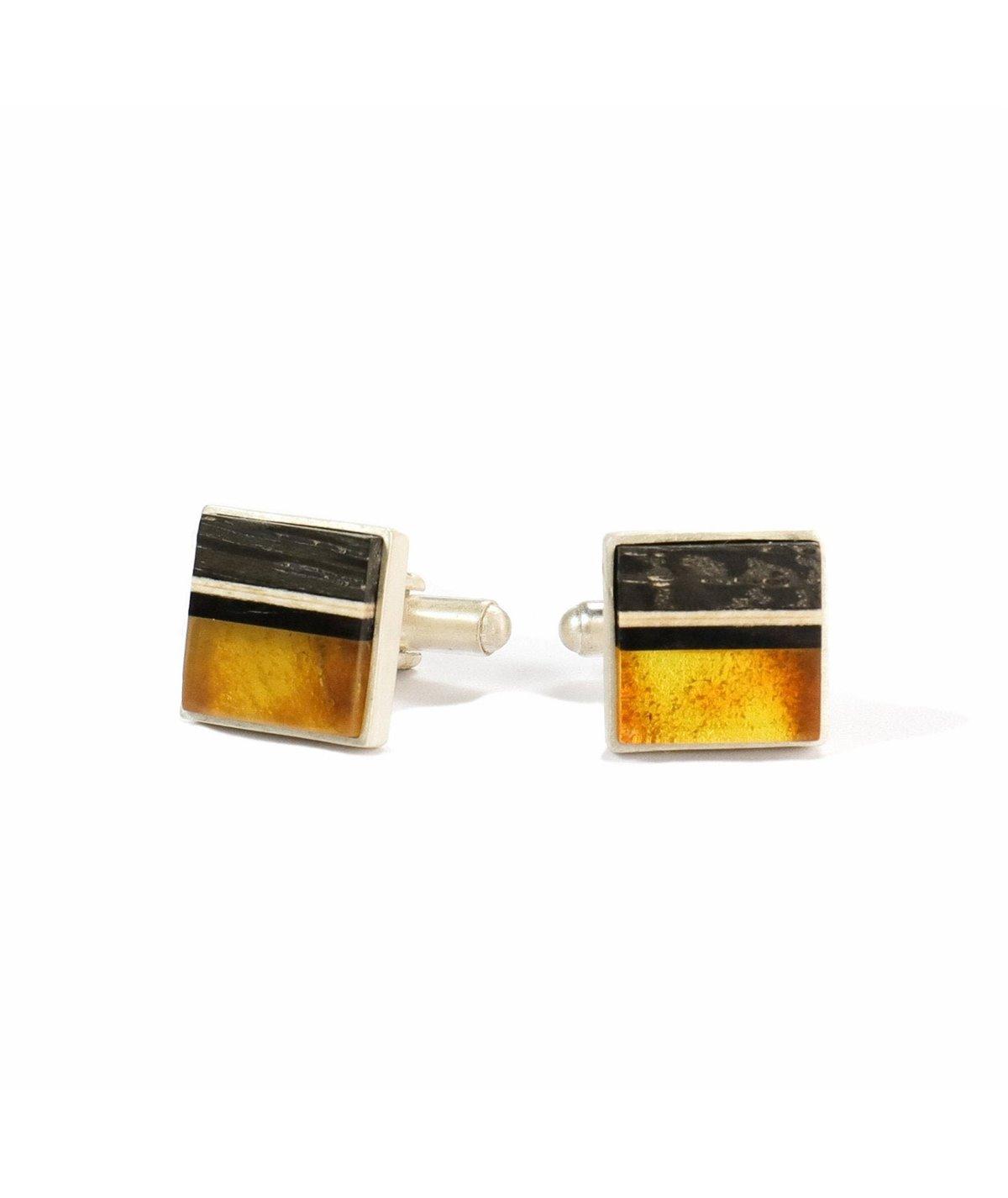 Cufflinks of baltic amber, wood and sterling silver, handmade by Amberwood Marta Wlodarska