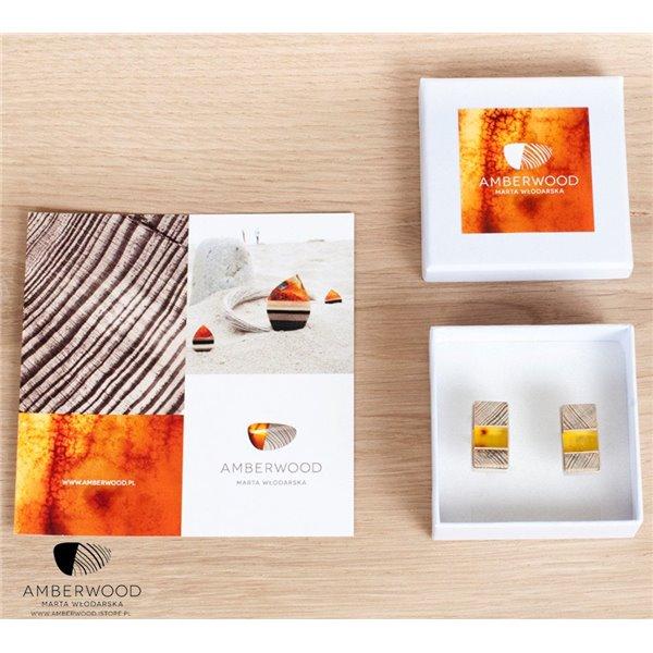 Manschettenknöpfe baltischer Bernstein+ Holz + Silber, orange schwarz, Amberwood Marta Wlodarska