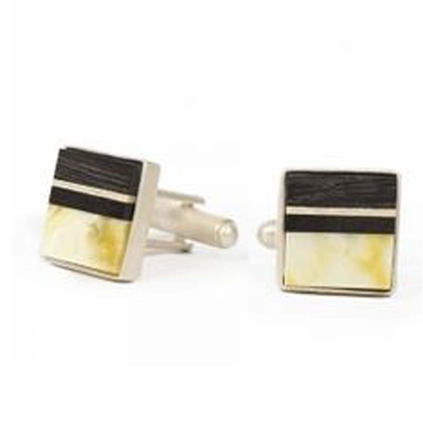 Cufflinks handmade from rare white baltic amber, Bog Oak and Sterling silver, mens jewellery