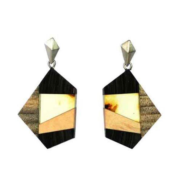 GEOMETRY kolczyki kolczyki kolczyki Balish bursztyn + drewno + srebrny, pomarańczowy czarny, przez Amberwood Marta Włodarska