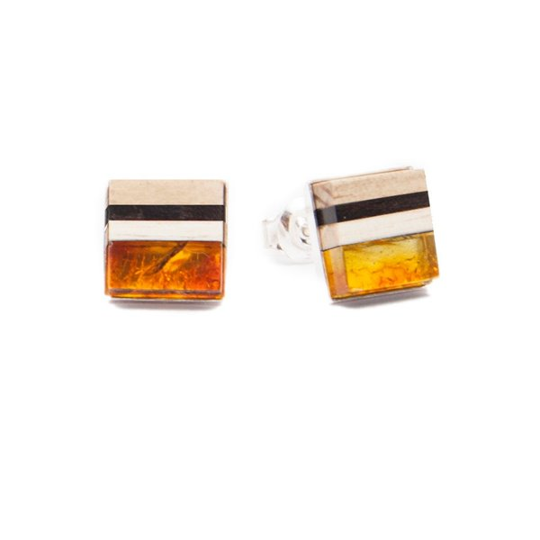 SQUARE studs, natural baltic amber + wood + sterling silver, orange black, Amberwood Marta Wlodarska