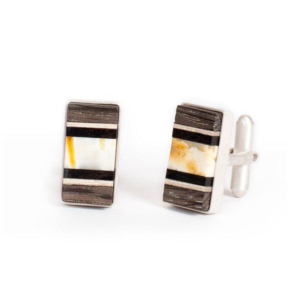 Manschettenköpfe baltischer Bernstein + Holz + Silber, dunkelgrau weiß, Amberwood Marta Wlodarska
