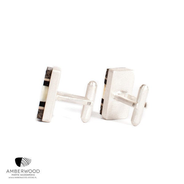 Rectangle cufflinks with rare white baltic amber, wood and Sterling silver, handmade by Amberwood Marta Wlodarska
