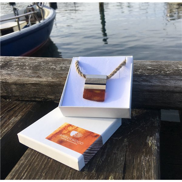 SIMPLE S necklace baltic amber + wood + sterling silver, orange black, by Amberwood Marta Wlodarska