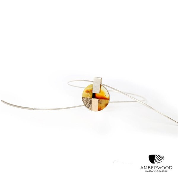 MOSAIC Art-Deco inspired necklace, baltic amber + wood + silver, orange grey, by Amberwood Marta Wlodarska