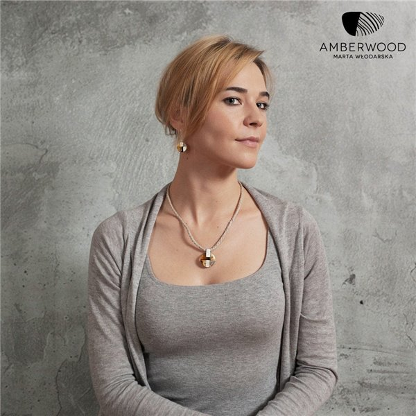 MOSAIC Art-Deco inspired necklace, baltic amber + wood + silver, orange grey, by Amberwood Marta Wlodarska