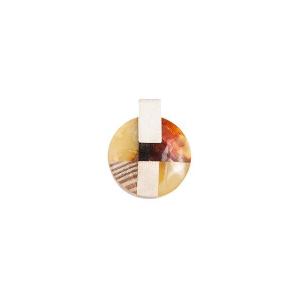 MOSAIC S Collier baltischer Bernstein + Holz + Silber, orange grau, von Marta Wlodarska Amberwood