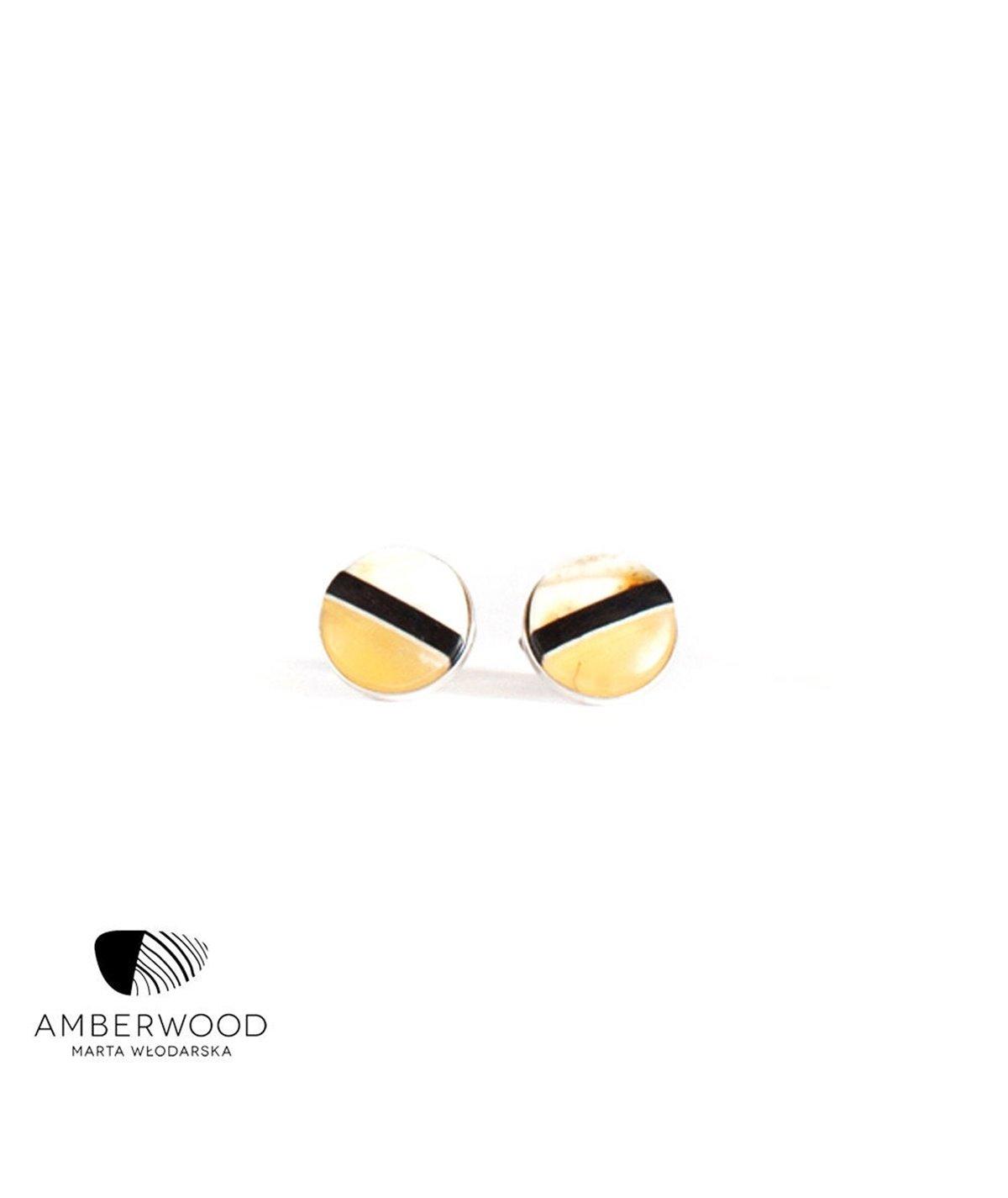 ROUND studs / pins, baltic amber + ebony + sterling silver, yellow black, Amberwood Marta Wlodarska