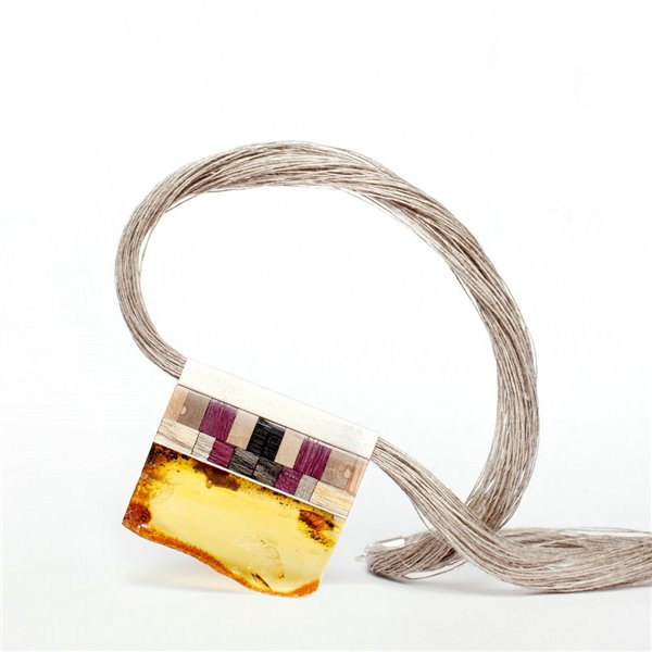 MOSAIC Art Déco inspired necklace, amber + wood +silver, yellow purple, by Amberwood Marta Wlodarska