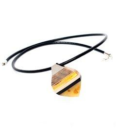 LEAVES pendant baltic amber + wood + silver, orange grey, Amberwood Marta Wlodarska