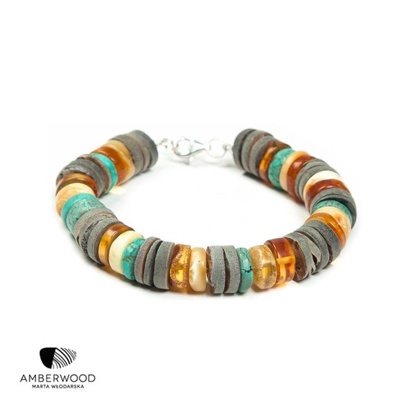 UNIQUE Bracelet baltic amber + turquoise + rainbow shell + silver, by Amberwood Marta Wlodarska