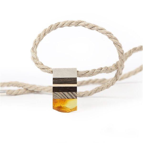 SIMPLE XS necklace baltic Amber + 1000 yr old bog oak +  Sterling silver, black orange, Amberwood Marta Wlodarska
