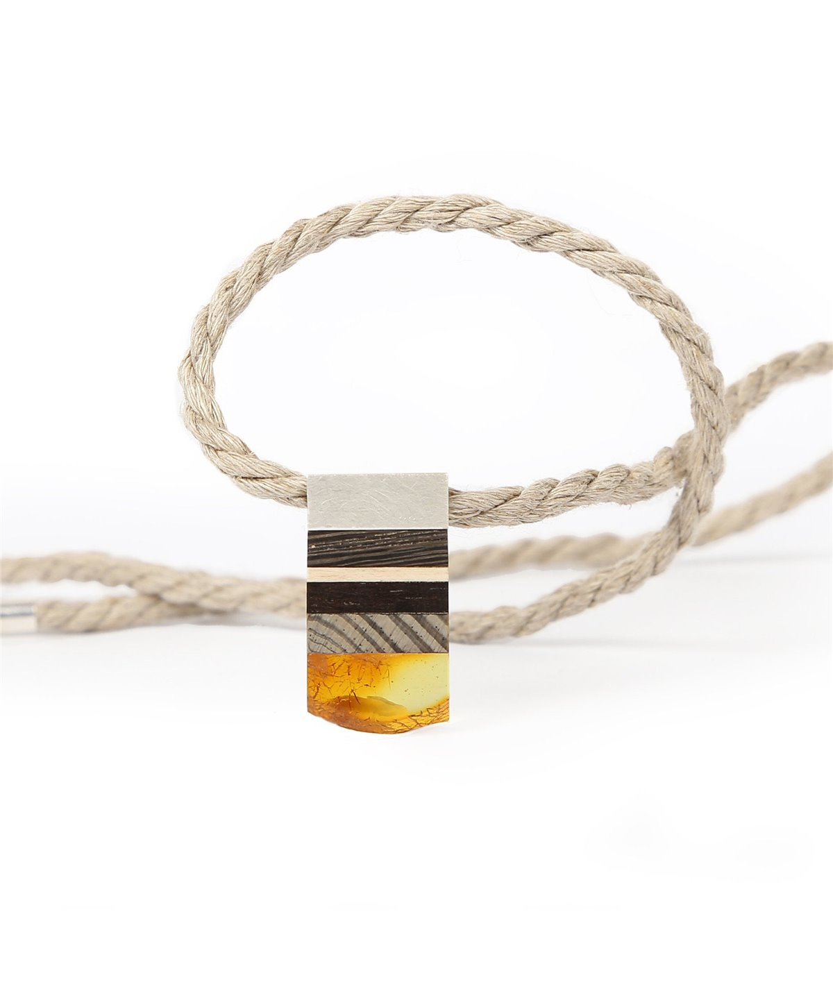 SIMPLE XS necklace baltic Amber + 1000 yr old bog oak + Sterling silver, black orange, Amberwood Marta Wlodarska