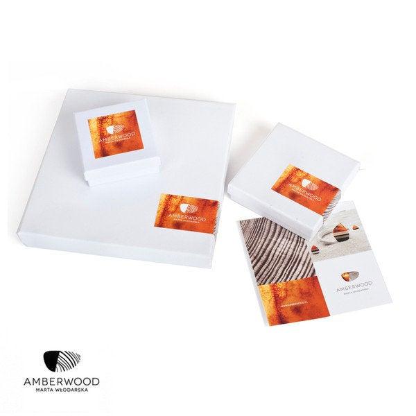 SIMPLE Halskette baltischer Bernstein + Mooreichenholz + Silber 925, orange schwarz, Amberwood Marta Wlodarska