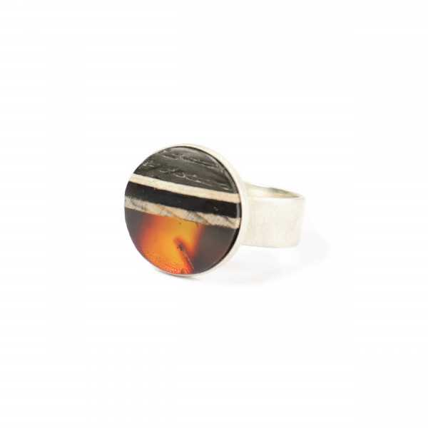 Sunset ring inspired by sunset with bog oak and red amber.