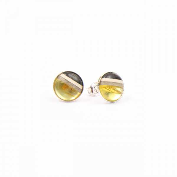 studs made of amber and wood on silver