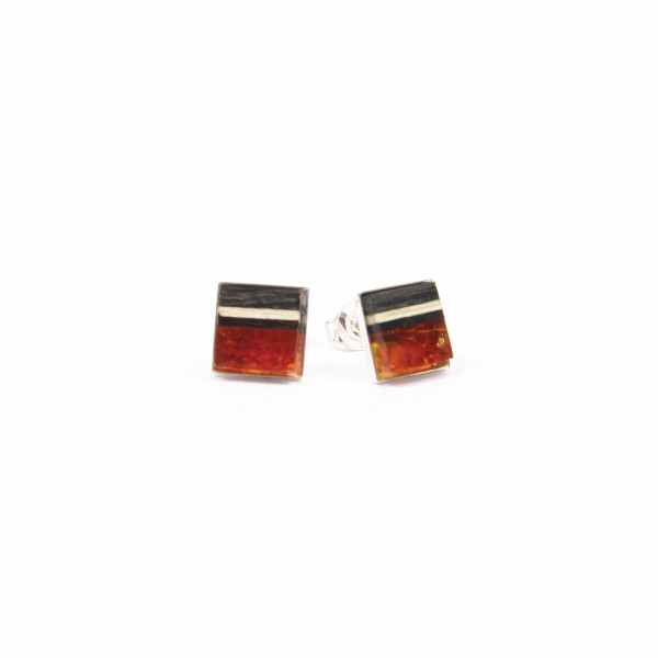 studs made of amber and wood set on silver